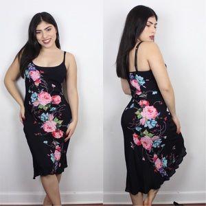 black slip on floral midi dress
